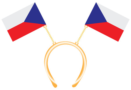 Witty headdress with flags Czech Republic. Vector illustration. 向量圖像