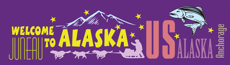 Card Welcome to Alaska with the symbols of the state. Vector illustration.