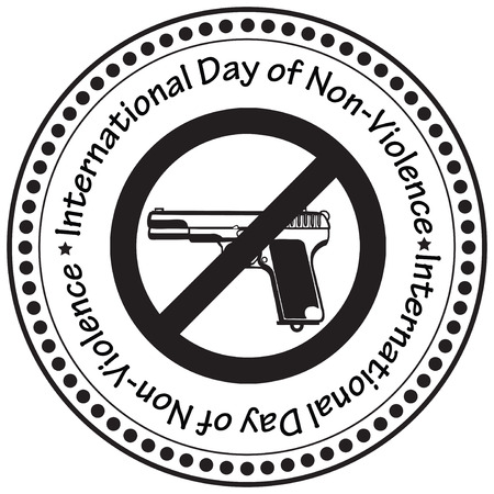 interdiction: The print a rubber stamp to the International Day of Non-Violence. Vector illustration.