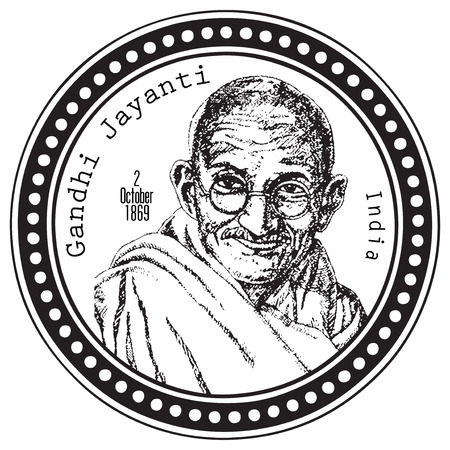 Stamp print Gandhi Jayanti is a national holiday in India on October 2nd. Vector illustration.