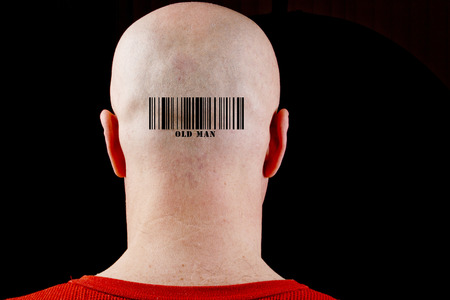 receded: In bald man barcode corresponding text of the old man.