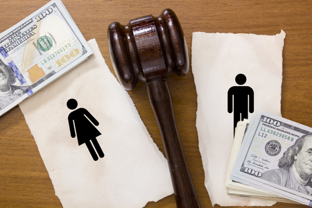 financial symbols: Divorce section of the property by legal means.