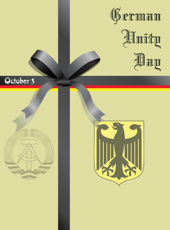 east berlin: Bow of the national colors of Germany Unity Day. Vector illustration. Illustration