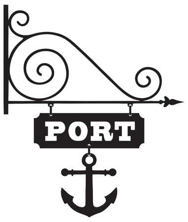 sea port: A pointer to the sea port with a symbolic anchor. Vector illustration.