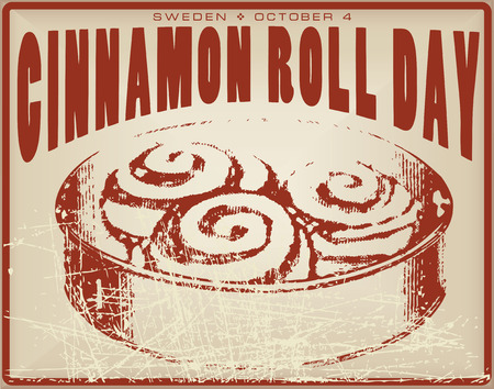 dag: Cinnamon Roll Day vintage card for the holiday is celebrated in Sweden.