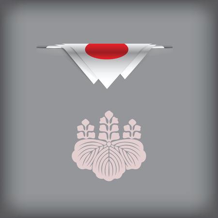 Staatsymbolen en kleuren van de vlag van Japan. Vector illustratie.
