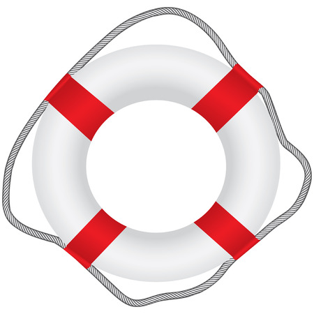 Classic lifebuoy with rope for fixing. Vector illustration.