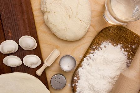 unleavened: Unleavened dough with ingredients for making dumplings.