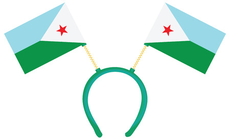 Witty headdress with flags Djibouti. Vector illustration. 向量圖像