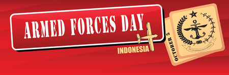 event planner: Indonesia, Armed Forces Day, a national holiday. Banner Vector illustration.