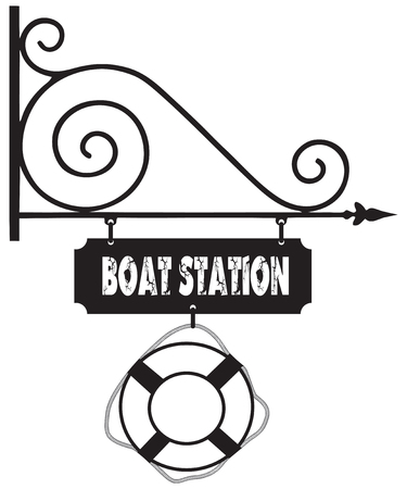 Road sign at the boat station, with a lifeline. Vector illustration.