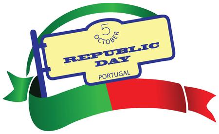 Republic Day sticker. Celebrated in Portugal, October 5th.