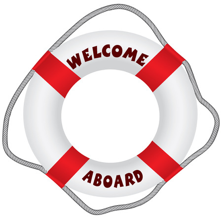 aboard: Classic lifebuoy with text Welcome Aboard. Vector illustration. Illustration