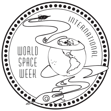 conquest: World Space Week. The international holiday as the die impression. Illustration