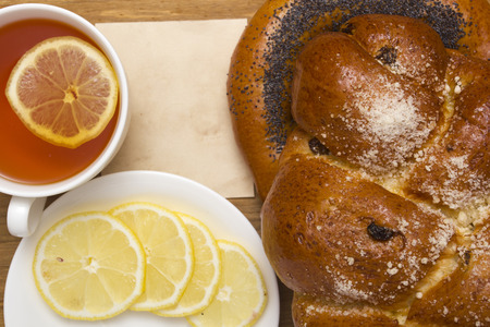 challah: Challah with raisins and a bagel with poppy for breakfast.