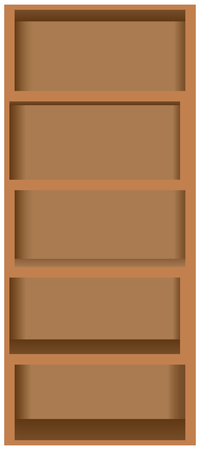 Wooden Bookshelves Five Shelves, Closet Rack. Vector Illustration. Stock  Vector   45725841