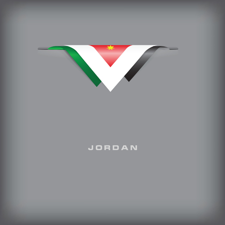 State symbols and colors of the flag of Jordan. Vector illustration.