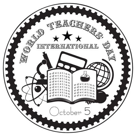 maestro: 05 de octubre, Día Mundial del Docente Internacional. Ilustración del vector. Vectores