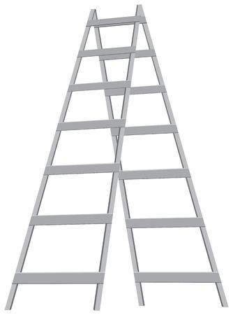 stepladder: A metal stepladder on the six steps. Vector illustration.