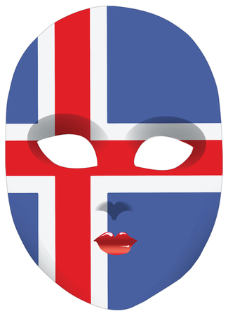 statehood: Classic mask with symbols of statehood of Iceland. Vector illustration