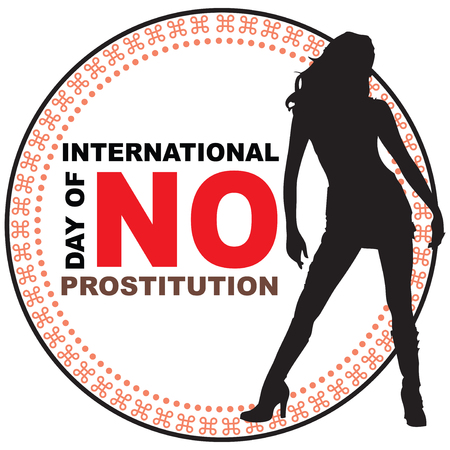 trafficking: Stamp print International Day of No Prostitution.