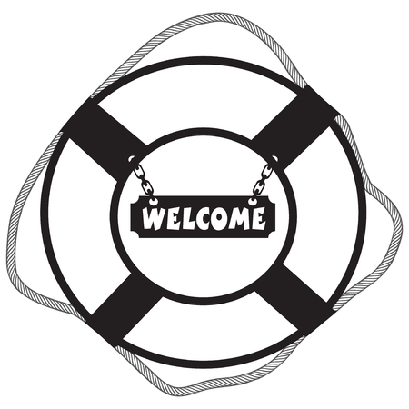sea disaster: Metal decorative symbol life buoy with a sign Welcome.