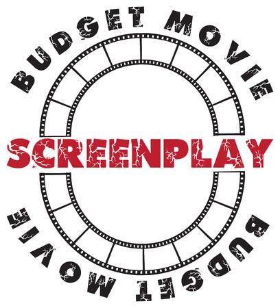 scenario: Symbolic scenario - the stamp imprint for a script for the film. Illustration