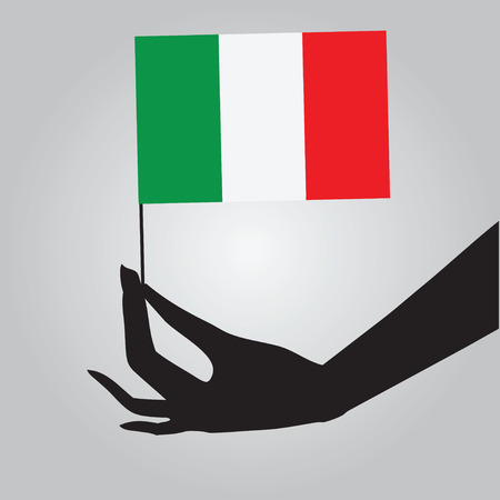 여성 손에 이탈리아의 국기입니다.