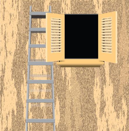 Ladder von einem alten Haus Wand. Standard-Bild - 46661838