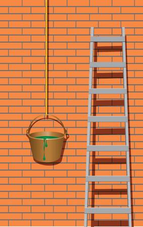 Metal ladder near brick wall.