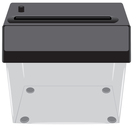 destroying: Office shredder with a transparent container - a device for destroying paper.