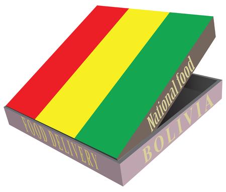 smolder: Box for food delivery Bolivian cuisine. Illustration