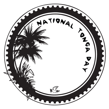 imprint: Stamp imprint to the national holiday - National Tonga Day Illustration