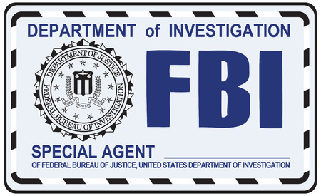special agent: FBI Special Agent certificate. US Secret Service. Illustration