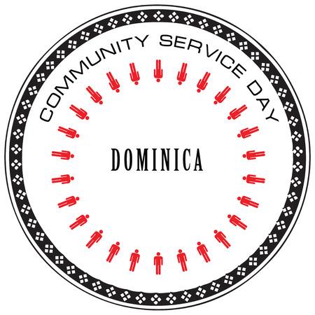 community service: Symbol Community Service Day Dominica. Vector illustration.