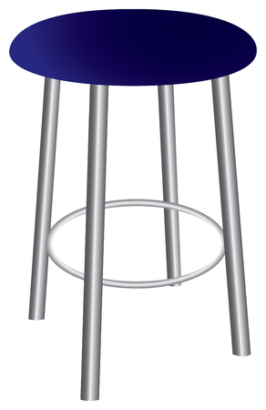 Contemporary stool with steel legs and upholstered seat.