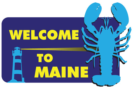 token: Stand Welcome to Maine, the lighthouse and lobster. Vector illustration.