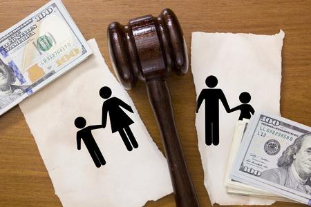 Juridische Area kinderen tijdens een echtscheiding in de rechtbank.