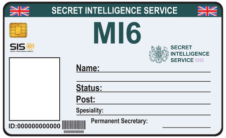 The identity a secret agent of MI 6. Certification Secret Intelligence Service in England.