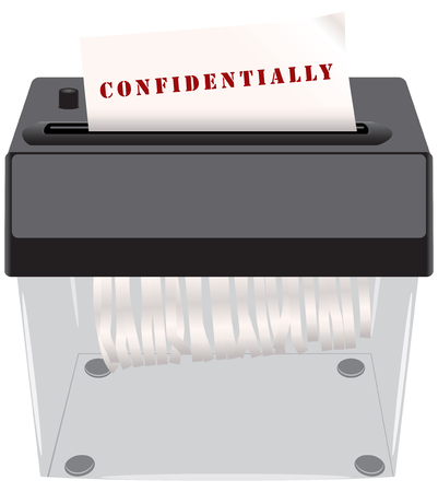 secret identities: The destruction of confidential documents in the shredder.