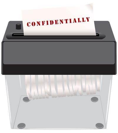 shredder: The destruction of confidential documents in the shredder.