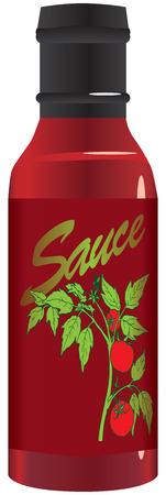 Tomato sauce in a glass bottle. Vector illustration. Çizim