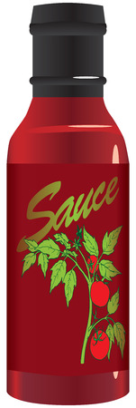 dipping: Tomato sauce in a glass bottle. Vector illustration. Illustration