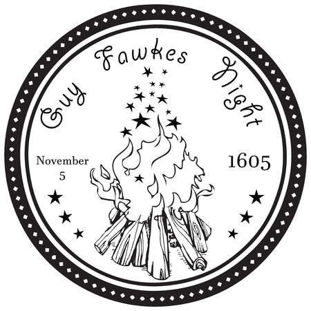 guy fawkes night: Guy Fawkes Notte, 5 novembre 1605, Regno Unito. Illustrazione vettoriale.