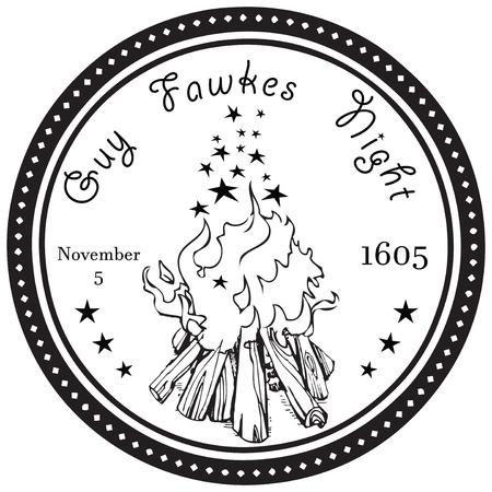Guy Fawkes Night, November 5, 1605, United Kingdom. Vector illustration.