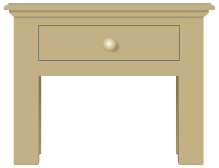 bedside: Classical bedside table with one drawer. Vector illustration.