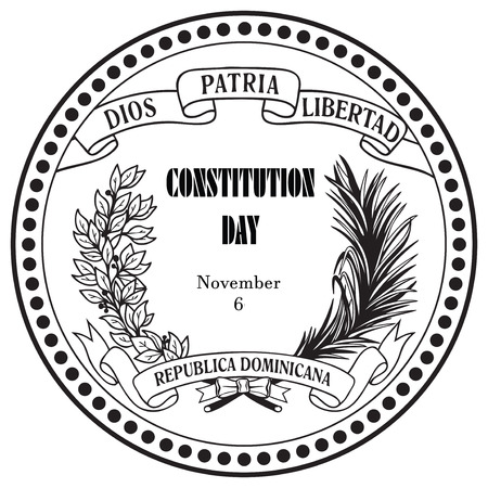 constitution: Symbol Constitution Day Dominican Republic as a rubber stamp imprint. Vector illustration.