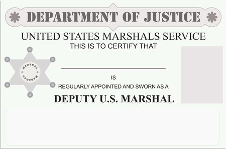 regularly: Regularly appointed and sworn in as Marshal - Marshal license. Illustration