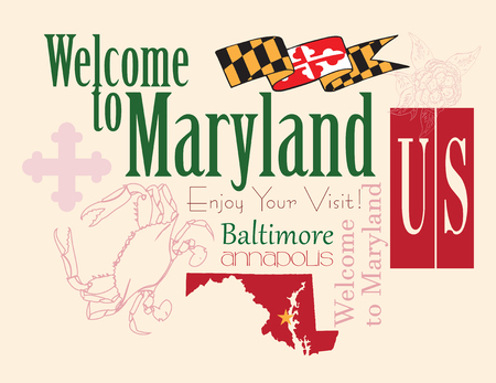 capita: Banner Maryland a map with the symbol of the state. Vector illustration. Illustration
