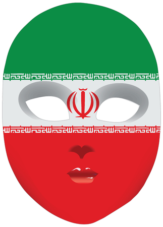 alteration: Classic mask with symbols of statehood of Iran. Vector illustration